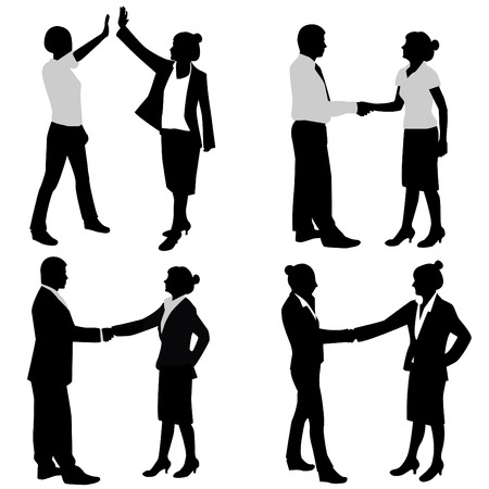 handshake business: par de negocio  Vectores