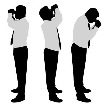 kijker: zakenman op zoek verrekijkers  Stock Illustratie