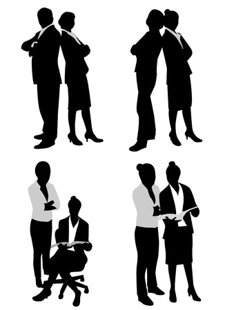 woman shadow: business couple