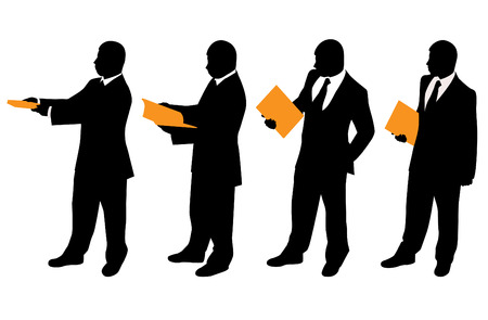 businessman with files (different positions)  Vector