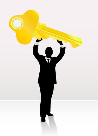 businessman lifting key  Stock Vector - 9060155