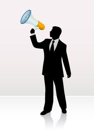 bullhorn: businessman with bullhorn