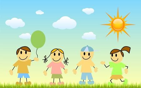 vettore di bambini del cartone animato  Vettoriali