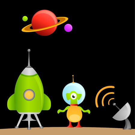 abduct: cartoon alien and space  Illustration