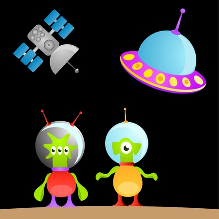 cartoon alien and space  Vector