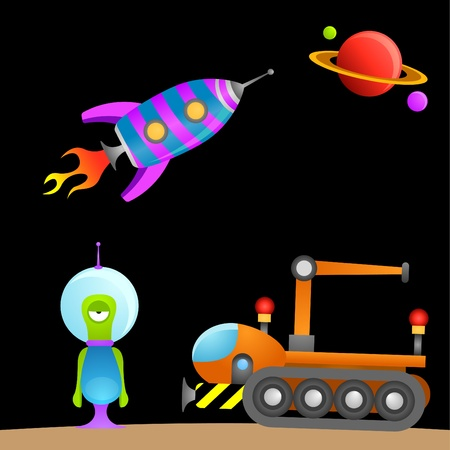 cartoon alien and space  Stock Vector - 9148391