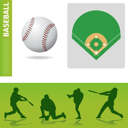 man in field: baseball design elements