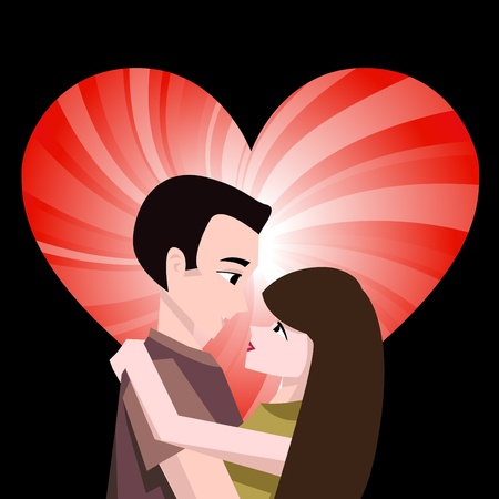 couple with heart  Vector
