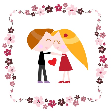 couple with floral border