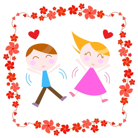 couple with floral border  Vector