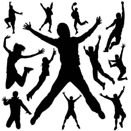 reach: people jumping vector
