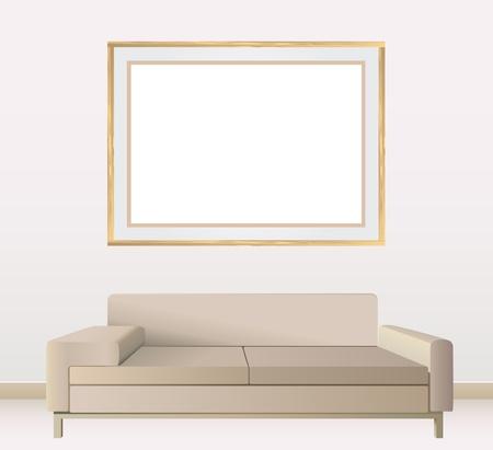 construction paper art: empty frames on wall vector