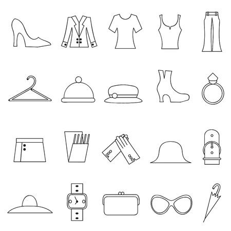 vrouw mode en kleding pictogrammen