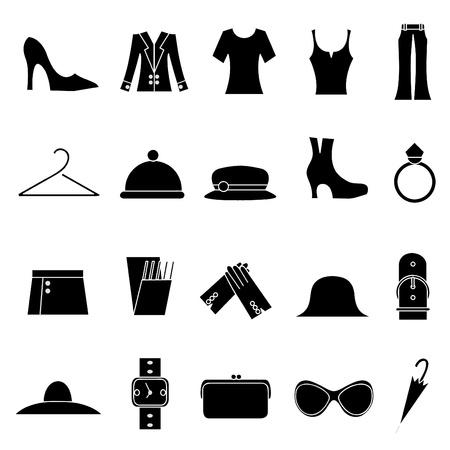 icone di moda e abbigliamento donna  Vettoriali