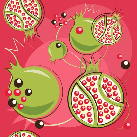 fruitful: pattern of pomegranate Illustration