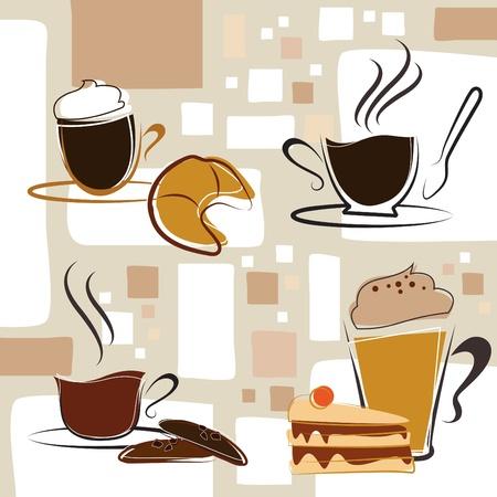 coffee, tea, cake Vector