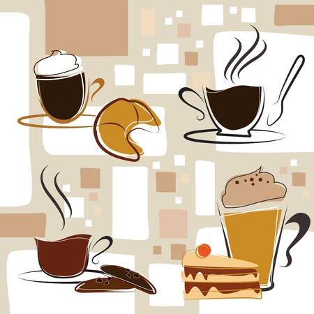 cappuccino: coffee, tea, cake Illustration