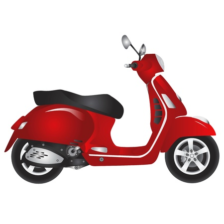 motor scooter: red scooter