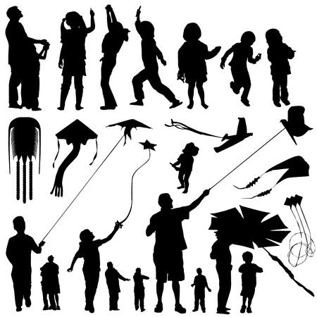 deslizamiento: personas con vector de cometa  Vectores