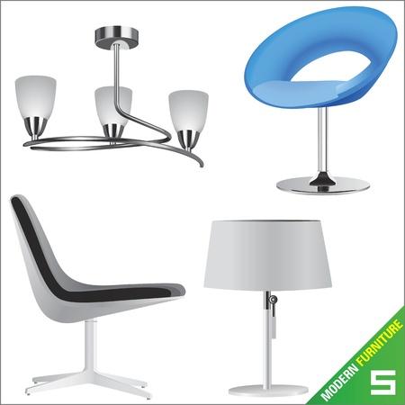 table decoration: modern furniture  vector  Illustration