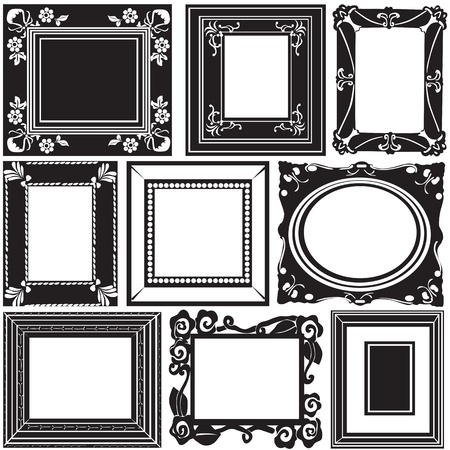 picture frame on wall: picture frame vector  Illustration