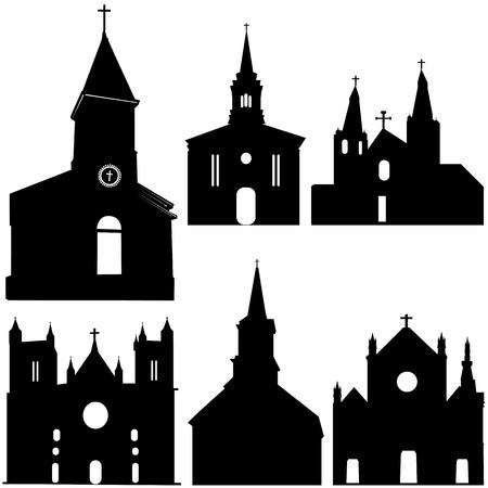 silhouet van kerk vector kunst  Vector Illustratie