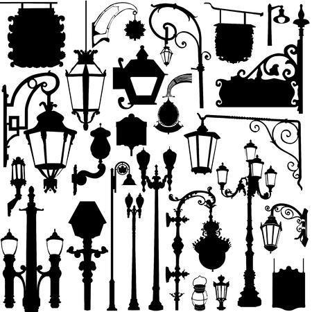 city light and sign  Vector