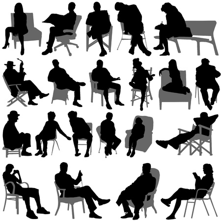 сидит: sitting people vector