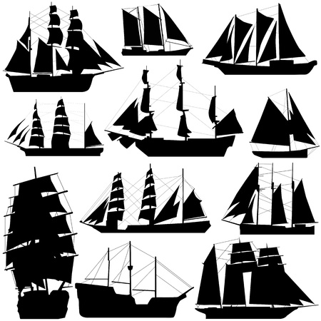 navire: vieux navire vecteur  Illustration