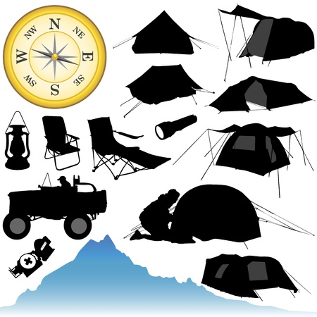 camping and equipments Stock Vector - 9247404