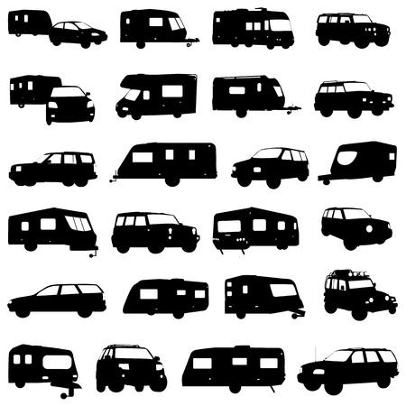 transporte terrestre: vector de la caravana y jeep