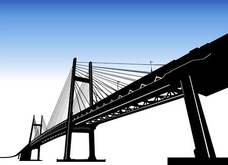 suspension bridge: bridge vector  Illustration