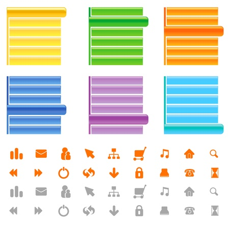 web site menu and icon set Stock Vector - 9247536