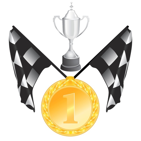 formula one: flag, cup, medal