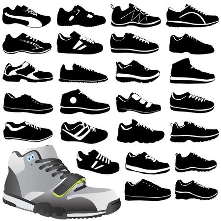 zapata: calzado de deporte de moda  Vectores
