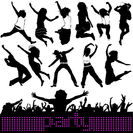party, jumping people  Vector