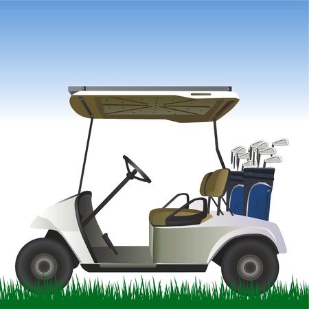 golf cart: golf cart in the field vector  Illustration
