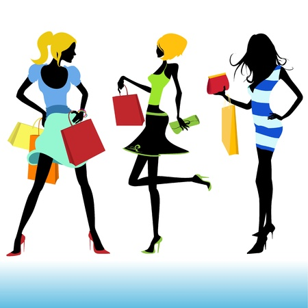femme papillon: illustration de la fille de magasinage