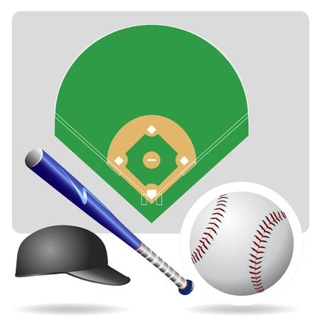 campo de beisbol: vector de campo, pelota y accesorios de b�isbol