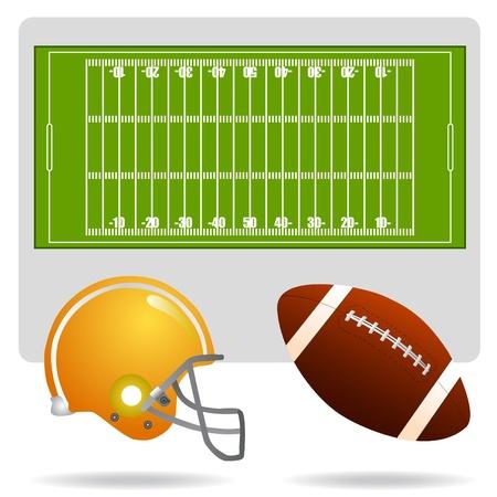 casco rojo: vector de campo, pelota y casco de f�tbol americano