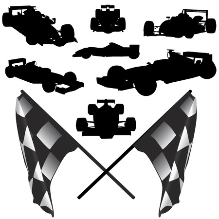 race car driver: formula car and flag vector Illustration