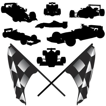 drag race: vector f�rmula de coche y bandera Vectores