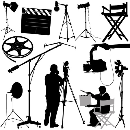video shooting: film objects and cameraman vector