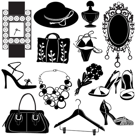 make up woman: women accessories vector