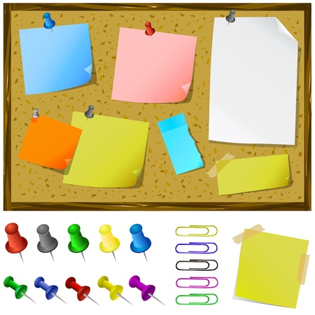 pin board: notice board with post-it vector