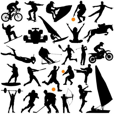 football silhouette: raccolta di vettore di sport
