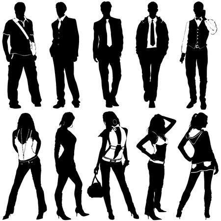 omini bianchi: vettore di uomini e donne di moda Vettoriali