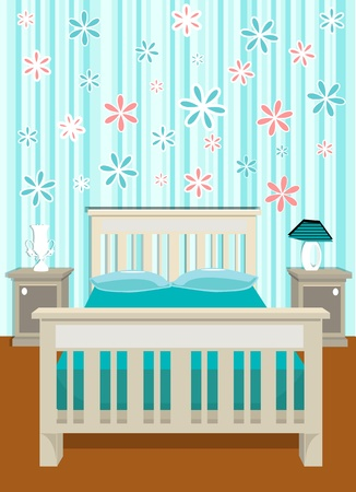 interior lighting: cute bedroom vector