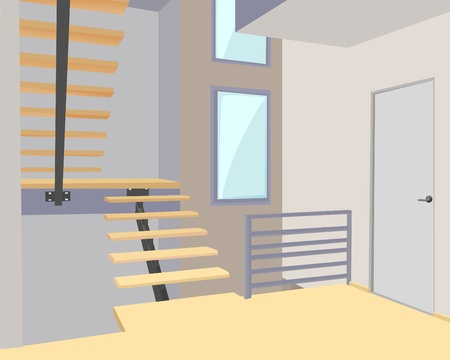 stairs interior: modern office vector