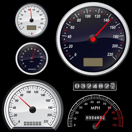 odometer: set of speedometer vector  Illustration